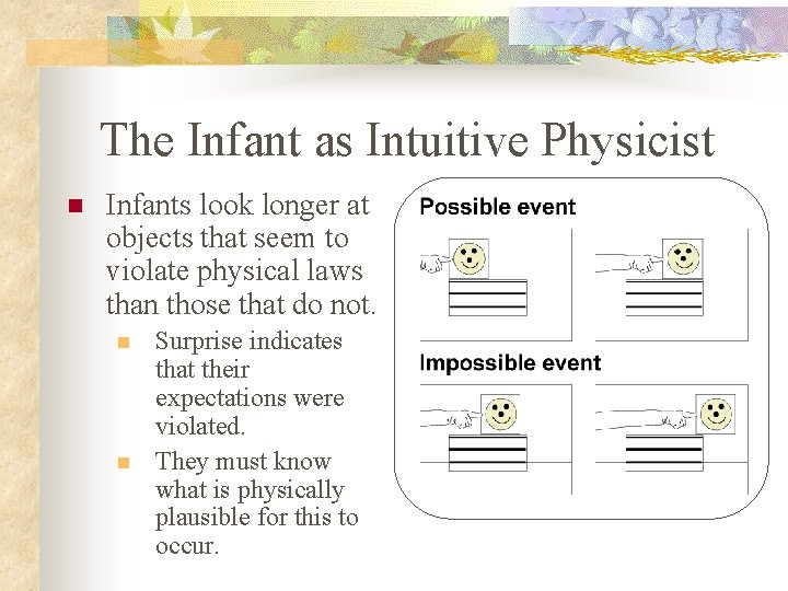 The Infant as Intuitive Physicist n Infants look longer at objects that seem to