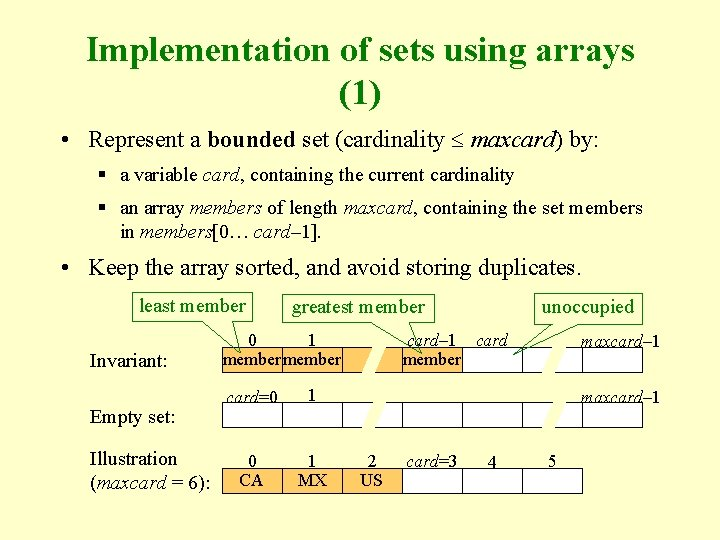 Implementation of sets using arrays (1) • Represent a bounded set (cardinality maxcard) by: