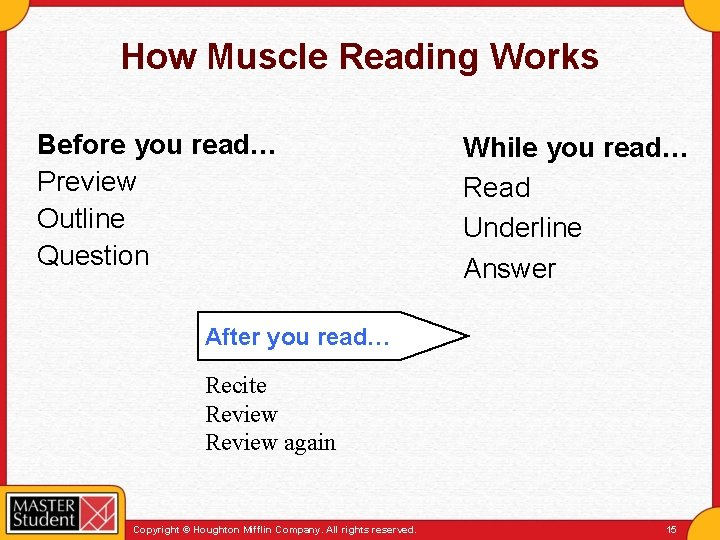 How Muscle Reading Works Before you read… Preview Outline Question While you read… Read