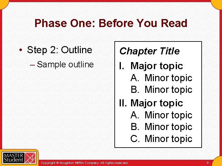Phase One: Before You Read • Step 2: Outline – Sample outline Chapter Title
