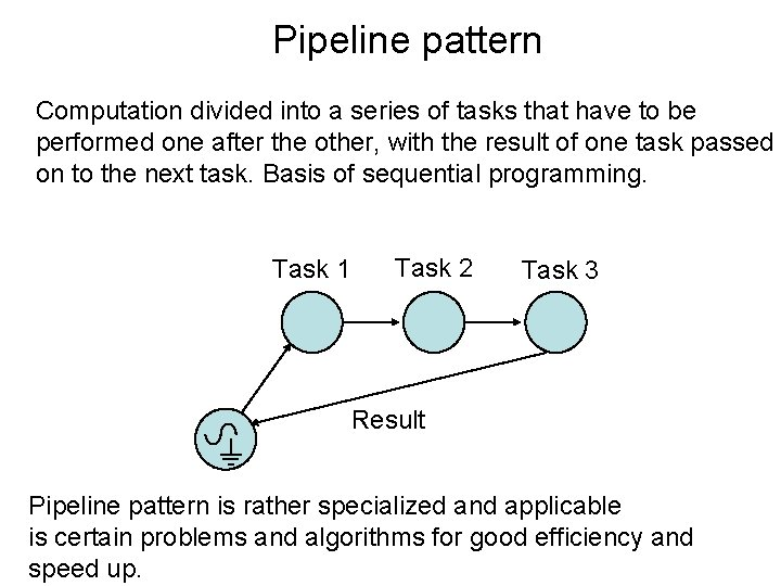 Pipeline pattern Computation divided into a series of tasks that have to be performed