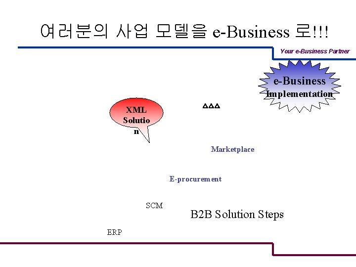여러분의 사업 모델을 e-Business 로!!! Your e-Business Partner e-Business Implementation XML Solutio n △△△