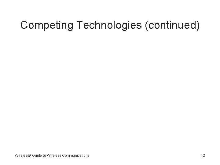 Competing Technologies (continued) Wireless# Guide to Wireless Communications 12
