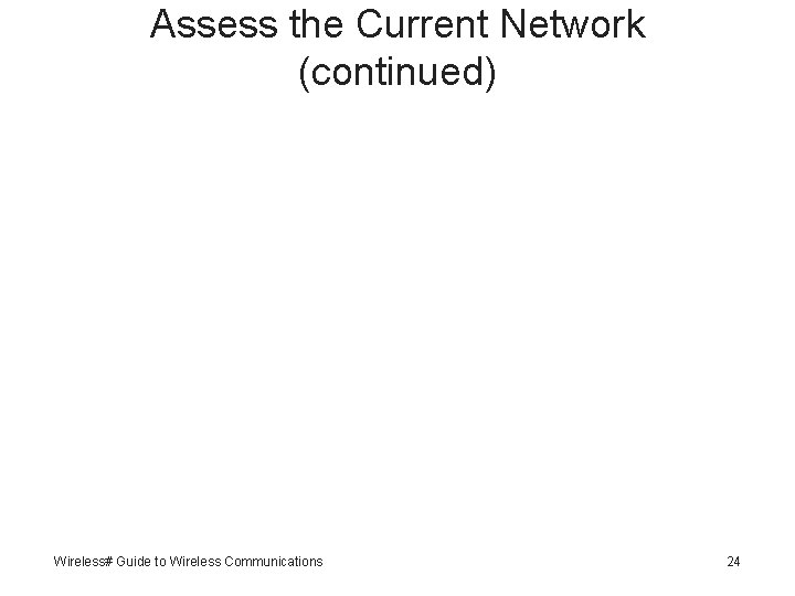 Assess the Current Network (continued) Wireless# Guide to Wireless Communications 24