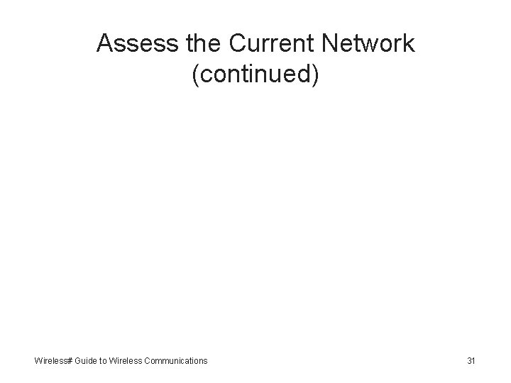 Assess the Current Network (continued) Wireless# Guide to Wireless Communications 31
