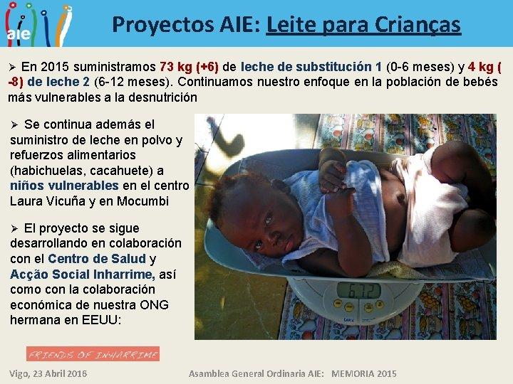 Proyectos AIE: Leite para Crianças En 2015 suministramos 73 kg (+6) de leche de