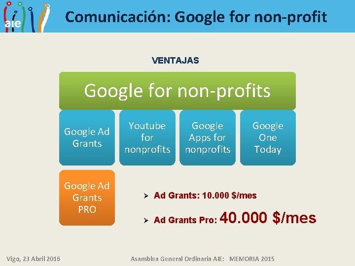 Comunicación: Google for non-profit VENTAJAS Google for non-profits Vigo, 23 Abril 2016 Google Ad