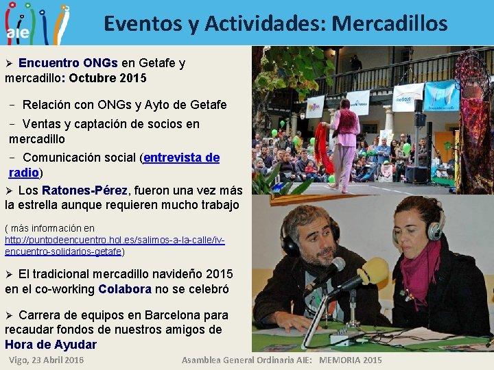 Eventos y Actividades: Mercadillos Encuentro ONGs en Getafe y mercadillo: Octubre 2015 Ø −