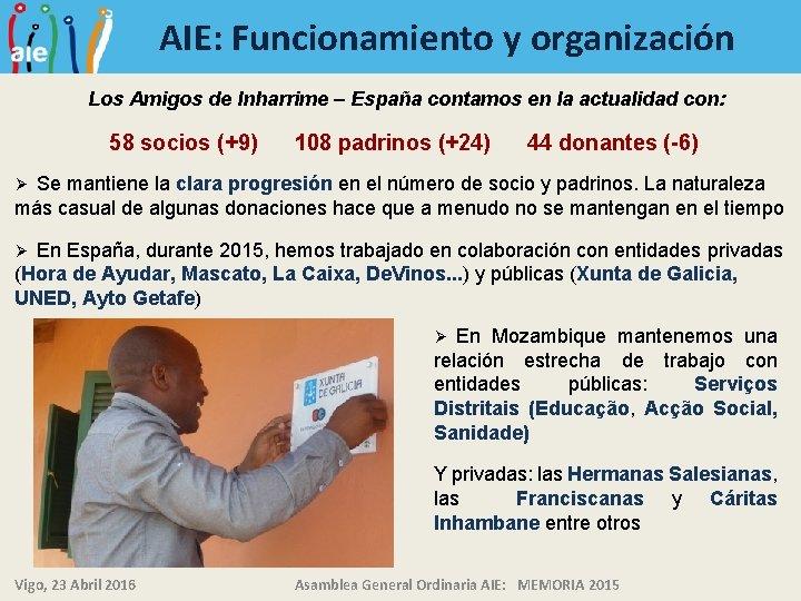 AIE: Funcionamiento y organización Los Amigos de Inharrime – España contamos en la actualidad