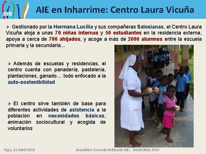 AIE en Inharrime: Centro Laura Vicuña Gestionado por la Hermana Lucília y sus compañeras