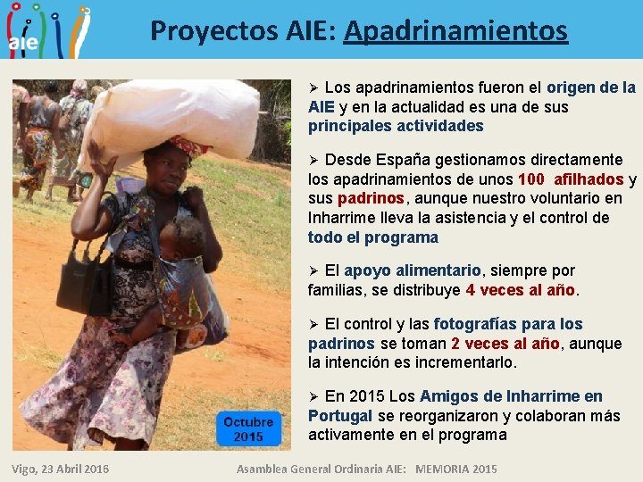 Proyectos AIE: Apadrinamientos Los apadrinamientos fueron el origen de la AIE y en la