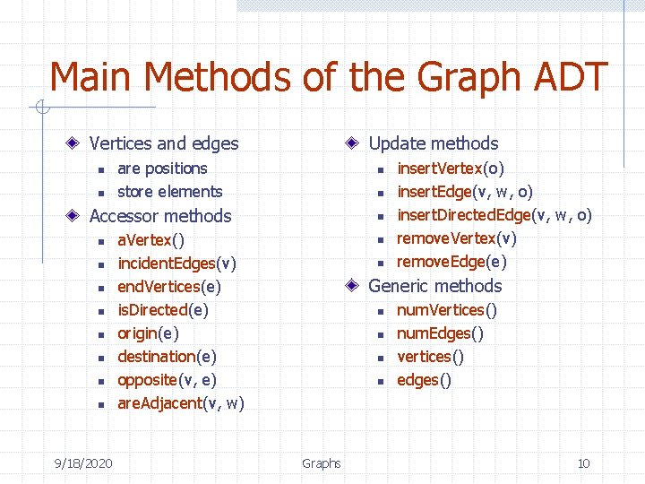 Main Methods of the Graph ADT Vertices and edges n n Update methods are