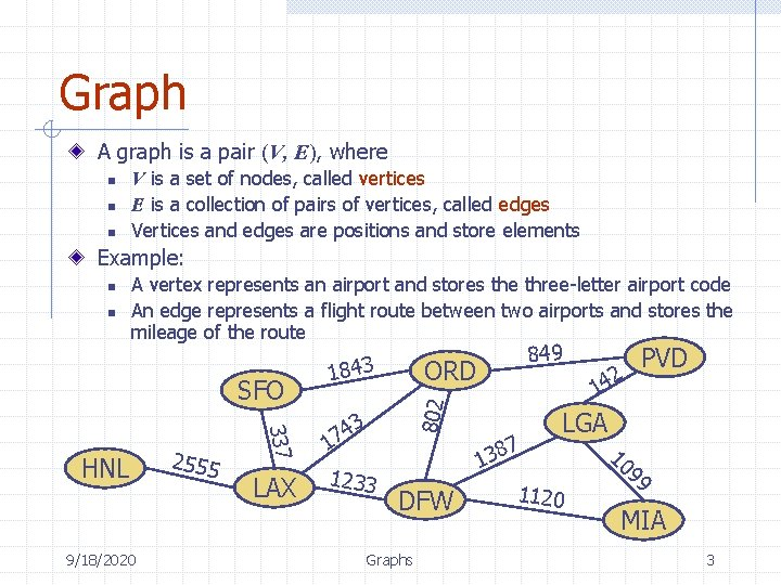 Graph A graph is a pair (V, E), where n n n V is