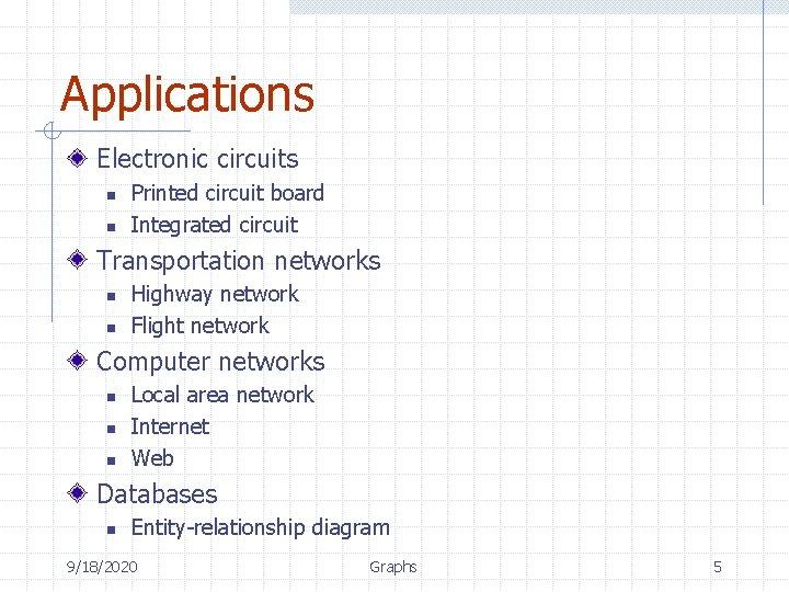 Applications Electronic circuits n n Printed circuit board Integrated circuit Transportation networks n n