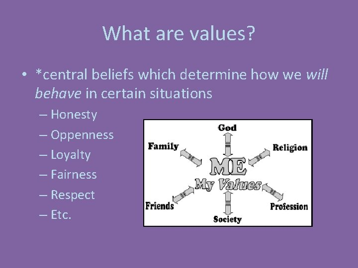 What are values? • *central beliefs which determine how we will behave in certain