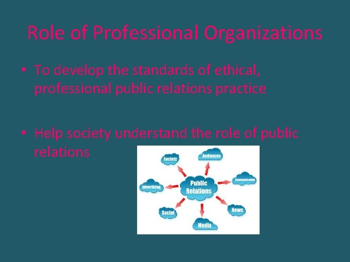 Role of Professional Organizations • To develop the standards of ethical, professional public relations