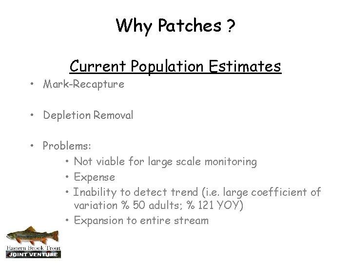 Why Patches ? Current Population Estimates • Mark-Recapture • Depletion Removal • Problems: •