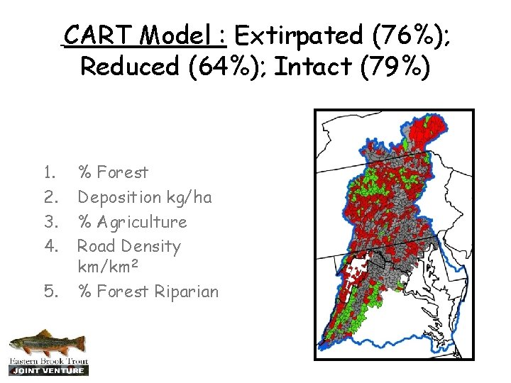 CART Model : Extirpated (76%); Reduced (64%); Intact (79%) 1. 2. 3. 4. 5.