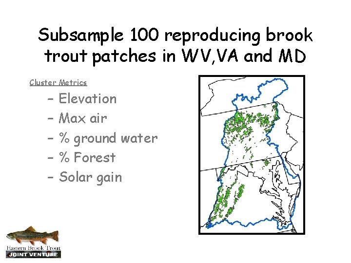 Subsample 100 reproducing brook trout patches in WV, VA and MD Cluster Metrics –