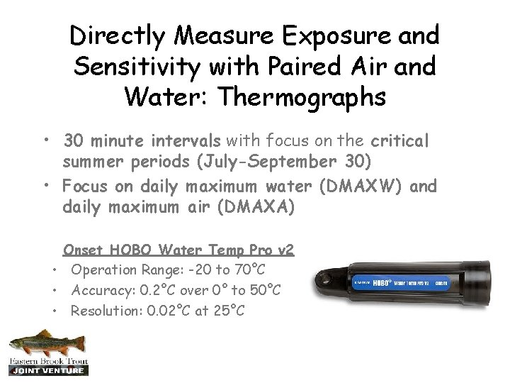 Directly Measure Exposure and Sensitivity with Paired Air and Water: Thermographs • 30 minute