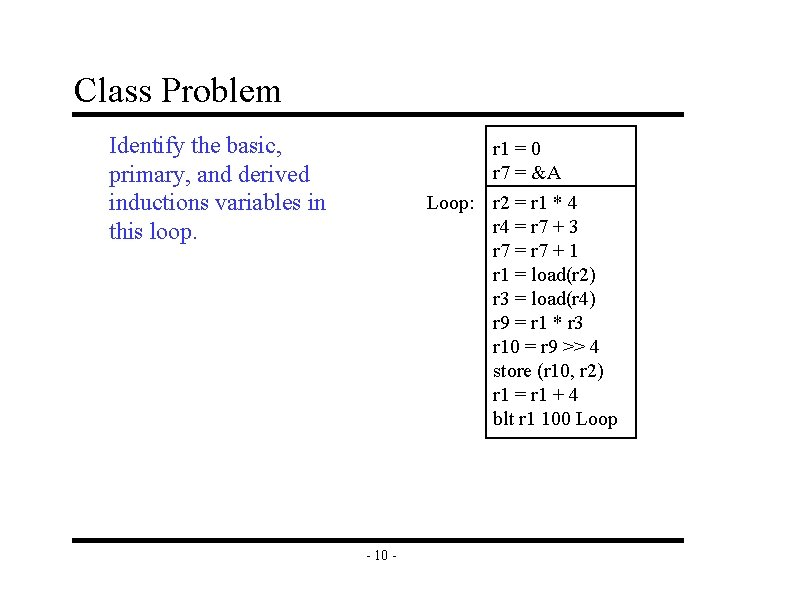 Class Problem Identify the basic, primary, and derived inductions variables in this loop. r