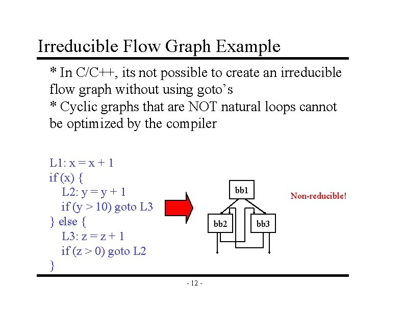 Irreducible Flow Graph Example * In C/C++, its not possible to create an irreducible