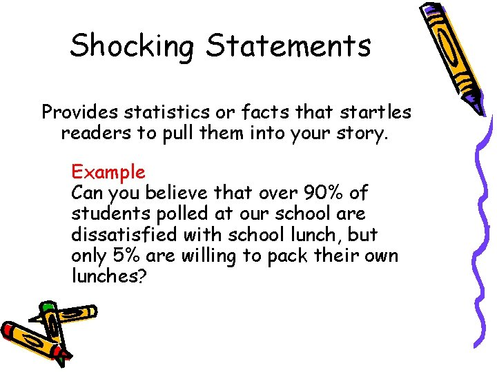 Shocking Statements Provides statistics or facts that startles readers to pull them into your