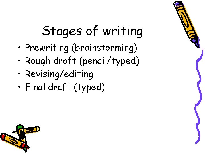 Stages of writing • • Prewriting (brainstorming) Rough draft (pencil/typed) Revising/editing Final draft (typed)