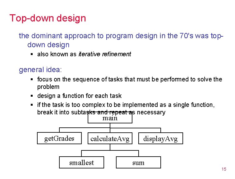 Top-down design the dominant approach to program design in the 70's was topdown design