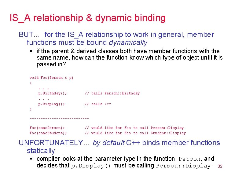 IS_A relationship & dynamic binding BUT… for the IS_A relationship to work in general,