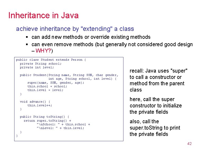 """Inheritance in Java achieve inheritance by """"extending"""" a class § can add new methods"""