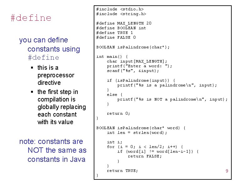 #define you can define constants using #define § this is a preprocessor directive §