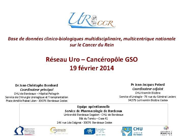 Base de données clinico-biologiques multidisciplinaire, multicentrique nationale sur le Cancer du Rein Réseau Uro