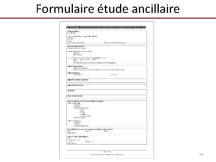 Formulaire étude ancillaire 14