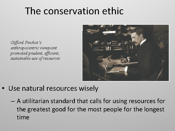 The conservation ethic Gifford Pinchot's anthropocentric viewpoint promoted prudent, efficient, sustainable use of resources