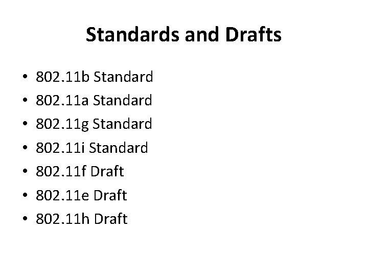 Standards and Drafts • • 802. 11 b Standard 802. 11 a Standard 802.