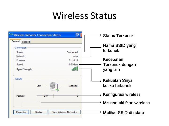 Wireless Status Terkonek Nama SSID yang terkonek Kecepatan Terkonek dengan yang lain Kekuatan Sinyal