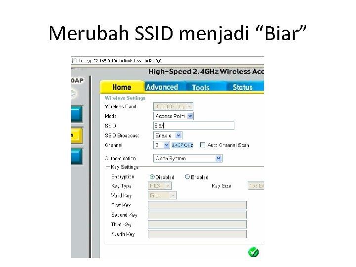 """Merubah SSID menjadi """"Biar"""""""