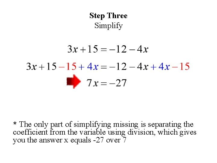 Step Three Simplify * The only part of simplifying missing is separating the coefficient