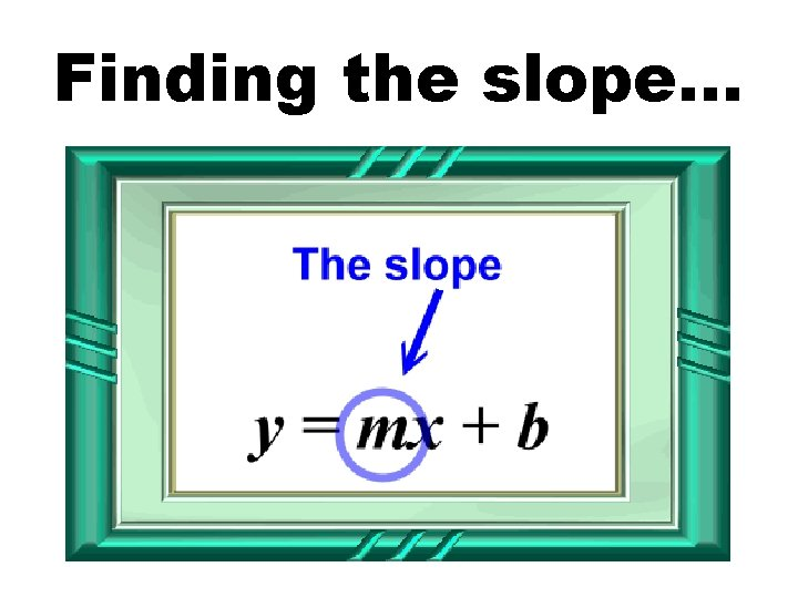 Finding the slope…