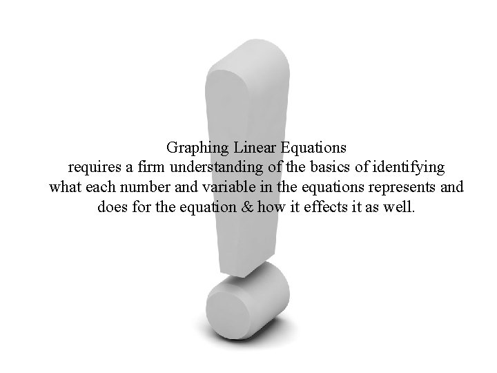 Graphing Linear Equations requires a firm understanding of the basics of identifying what each