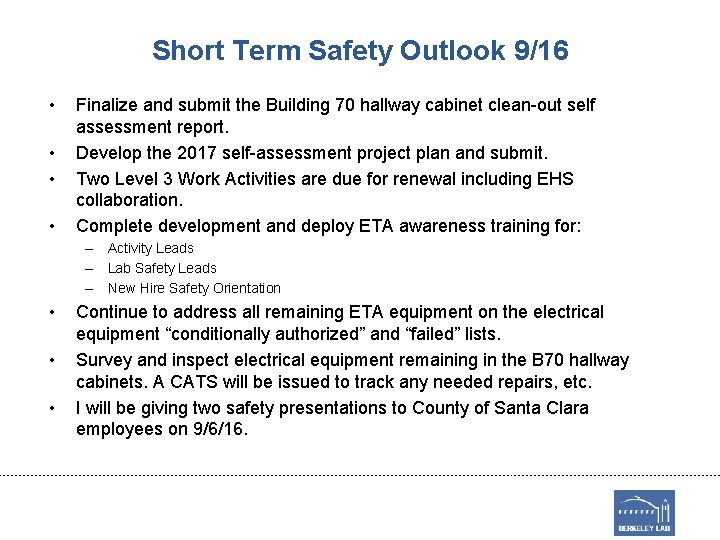 Short Term Safety Outlook 9/16 • • Finalize and submit the Building 70 hallway