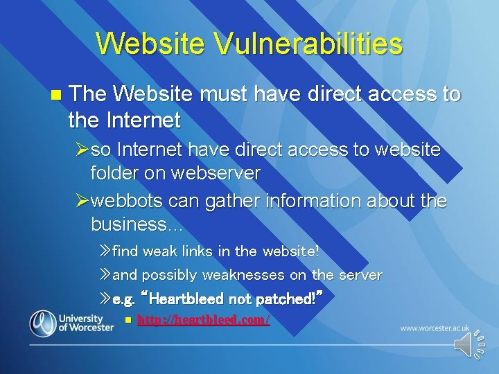 Website Vulnerabilities n The Website must have direct access to the Internet Øso Internet