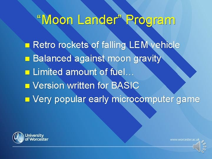"""Moon Lander"" Program Retro rockets of falling LEM vehicle n Balanced against moon gravity"