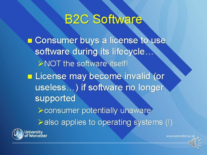 B 2 C Software n Consumer buys a license to use software during its