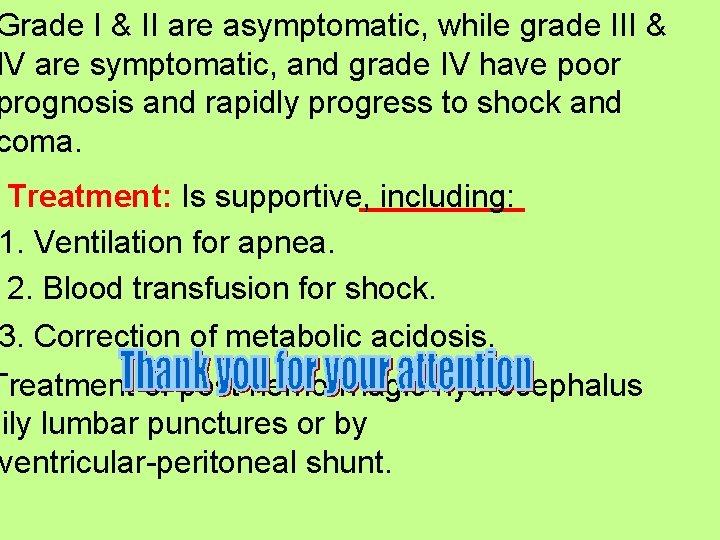 Grade I & II are asymptomatic, while grade III & IV are symptomatic, and