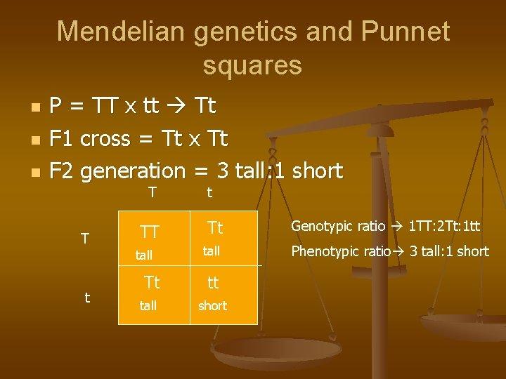 Mendelian genetics and Punnet squares n n n P = TT x tt Tt