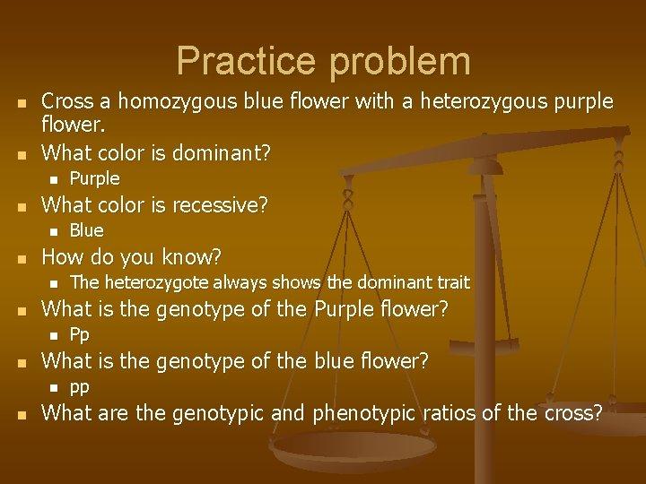 Practice problem n n Cross a homozygous blue flower with a heterozygous purple flower.