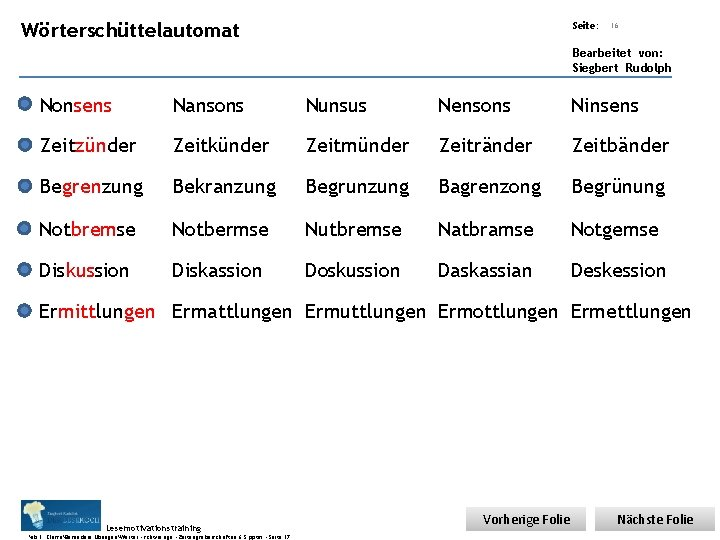 Übungsart: Wörterschüttelautomat Seite: 16 Bearbeitet von: Siegbert Rudolph Nonsens Nansons Nunsus Nensons Ninsens Zeitzünder