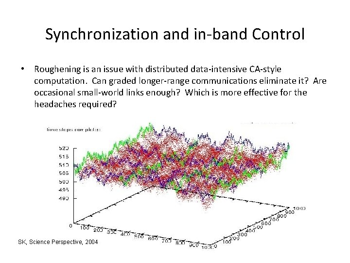 Synchronization and in-band Control • Roughening is an issue with distributed data-intensive CA-style computation.